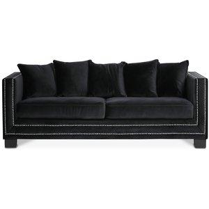 Cloude 2-sits soffa med nitar - Svart från Skånska Möbelhuset.